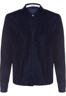 Camisa Feminina Botões Veludo - Azul