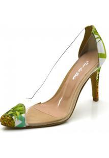 Scarpin Tecido Bico Fino Transparência Flor Da Pele Verde - Kanui