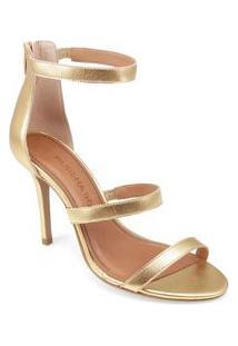 Sandalia Salto Alto Ziper Traseiro Dourado