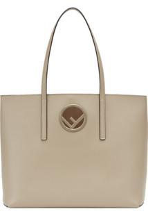 Fendi Bolsa Tote Logo Shopper - Neutro