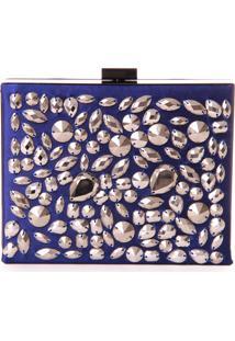 Bolsa Clutch Real Arte Com Pedrarias Azul