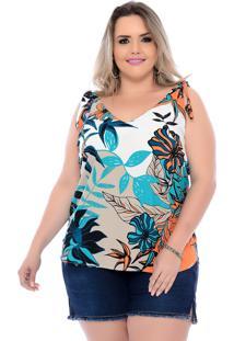Blusa Plus Size Regata Floral Com Laço Estampada Arimath