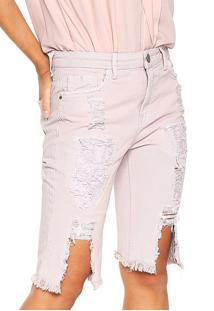 Bermuda Jeans Le Lis Blanc Deux Destroyed Rosa