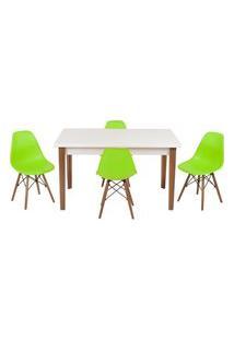 Conjunto Mesa De Jantar Luiza 135Cm Branca Com 4 Cadeiras Eames Eiffel - Verde