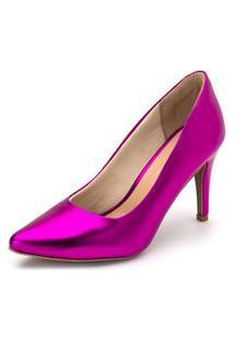 Sapato Scarpin Salto Alto Fino Em Roxo Metalizado