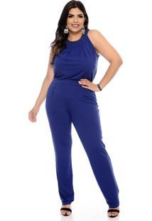 Macacão Fajos Plus Size Karen Azul