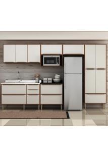 Cozinha Compacta Calábria 13 Portas 4 Gavetas Nogueira/Branco - Multimóveis