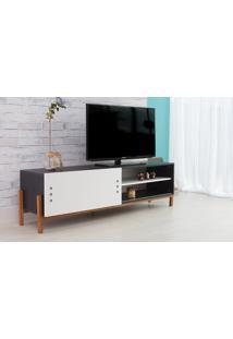 Rack Tv Preto Moderno Vintage Retrô Com Porta De Correr Branca Eric - 166X43,6X48,5 Cm