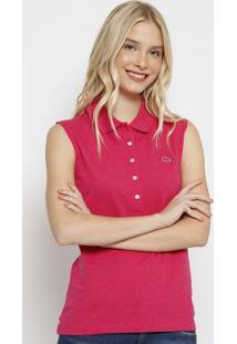 Polo Slim Fit Em Piquê Com Botões & Bordado- Pinklacoste