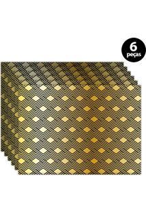 Jogo Americano Mdecore Geométrico 40X28Cm Amarelo 6Pçs