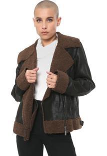Jaqueta Ellus Vintage Suede Fur Preta/Marrom