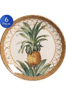 Conjunto Pratos Sobremesa Pineapple Natural 6 Peças - Porto Brasil - Verde / Bege