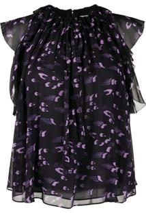 Temperley London Blusa Ethel Com Babados - Roxo
