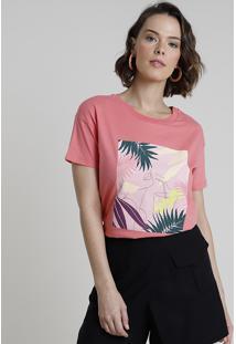 Blusa Feminina Com Estampa Tropical Manga Curta Decote Redondo Coral