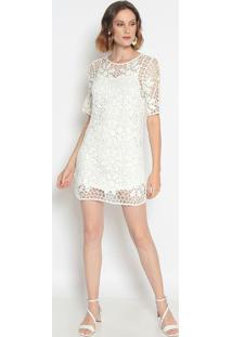 Vestido Em Crochê- Branco- Le Fixle Fix