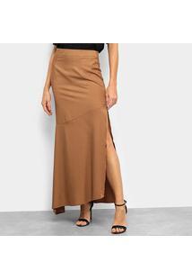 Saia Top Moda Longa Assimétrica Fenda - Feminino-Marrom