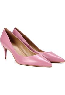 Scarpin Couro Carrano Salto Médio Bico Fino - Feminino-Rosa Escuro