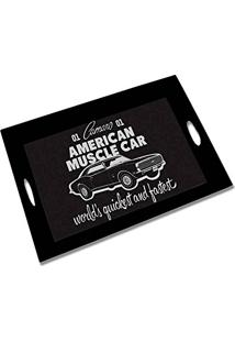 Bandeja Gm American Muscle Car Preto Em Madeira - Urban - 46X30,5 Cm