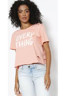 Camiseta ''Every Thing'' - Coral & Branca - Sommersommer