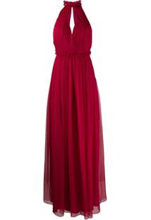 Alberta Ferretti Vestido Longo Frente Única - Vermelho