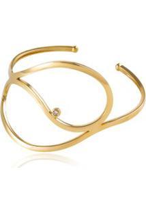 Bracelete Curvas Gota Amarelo C/ Diam Chocolate - U