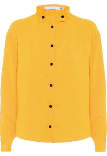 Camisa Feminina Gola Destacável - Amarelo