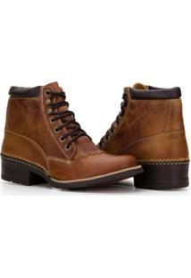 Bota Country Capelli Boots Em Couro Com Recortes Masculino - Masculino-Marrom