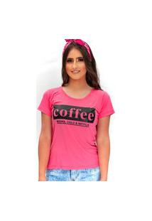 Camiseta Miss Glamour Store Coffee Rosa Chiclete