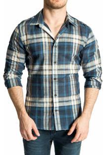 Camisa Sergio K. Xadrez Rústico Dark Blue