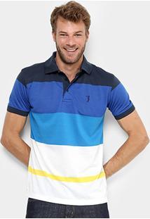 Camisa Polo Aleatory Listras Coloridas Masculina - Masculino