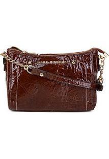 Bolsa Couro Jorge Bischoff Mini Bag Verniz Marmorizada Feminina - Feminino-Marrom
