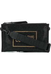 Versace Jeans Couture Clutch Com Aplicação De Cristais - Preto