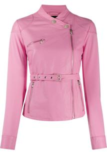 Pinko Belted Biker Jacket - Rosa