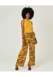 Calça Pantalona Em Viscose Malwee Amarelo - G