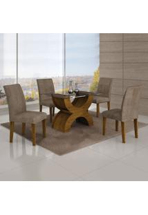 Conjunto Mesa Olimpia New 1,20X0,80M 4 Cadeiras Animale Capuccino - 7338.30.58.15 Leifer