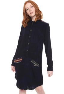 Vestido Chemise Desigual Curto Dieppe Preto/Azul-Marinho