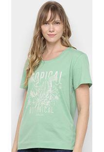 Camiseta Colcci Tropical Feminina - Feminino-Verde Claro