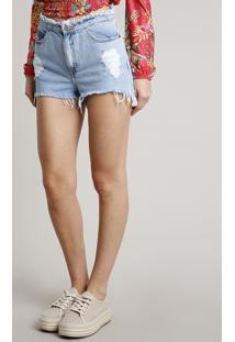 Short Jeans Feminino Vintage Destroyed Com Cós Desfiado Azul Claro