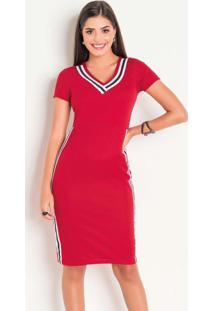 Vestido Vermelho Com Tiras Moda Evangélica