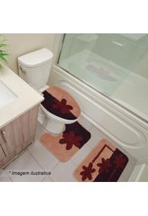 Jogo Para Banheiro Chade- Rosê & Bordô- 3Pçssultan