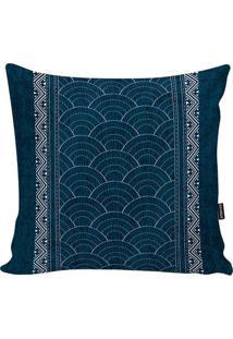 Capa De Almofada Indian- Azul Escuro & Branca- 45X45Stm Home