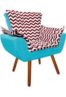 Poltrona Decorativa Opala Suede Composê Estampado Zig Zag Vermelho D79 E Suede Azul Tiffany - D'Rossi