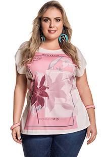 Blusa Plus Size Viscose Manga Curta Rosa
