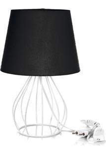 Abajur Cebola Dome Preto Com Aramado Branco - Preto - Dafiti