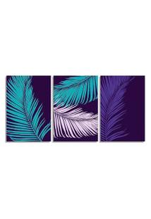 Quadro Oppen House 60X120Cm Folhagem Azul E Lilás Canvas Salas