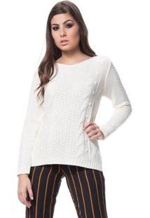 Blusa Tricot Gola Redonda Alto Relevo Dia A Dia Feminina - Feminino-Off White