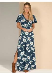 Vestido Floral Azul Com Detalhe De Argola