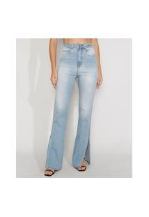 Calça Jeans Feminina Cintura Alta Flare Com Fenda Azul Claro