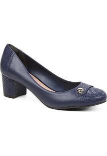 Scarpin Couro Shoestock Snake Salto Bloco Médio - Feminino-Marinho