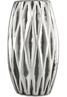 Vaso Metalizado Com Relevo- Prateado- 15Xø8,5Cm-Mart